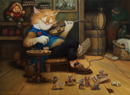Tales of the cat Kuzma - mouse, rat, aleksandr maskaev, tales, cat, illustration, kuzma, violin, fantasy, pisici