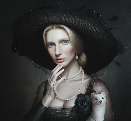 Lady with an ermine - maksim larionov, hat, animal, art, frumusete, luminos, black, ermine, fantasy, jewel, pearls, white, lady