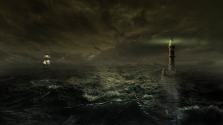 Lighhouse and Boat - storm, sailing ship, lighthouse, sea, Firefox theme, ocean, tall ship, waves, stormy, beach, boat, light house, night