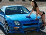 Bikini Model Washing her Honda Prelude