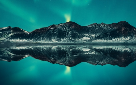Northern Lights - refection, mountains, lake, northern lights, moon, night