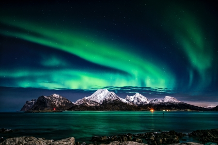 Fantastic Aurora Borealis - beauty, aurora borealis, teal, sky, Norway, night, blue, photography, green, nature