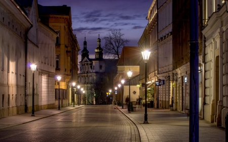 Krakow, Poland - houses, dusk, streetscape, Krakow, Poland, church, lights