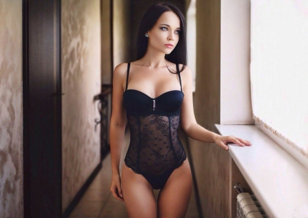 The beauty in black - lovely, beautiful, girl, sexy