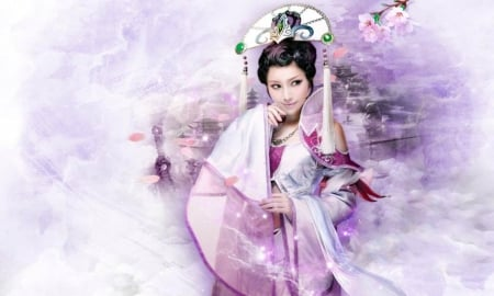 Fantasy Oriental Girl - Oriental, lovely, dreamy, fantasy girl, digital, komono, chinese, pink, art