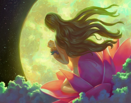 Hijo de la Luna - baby, mother, wing, moon, fantasy, girl, flower, child, son, pink, night, lotus, breeze, yellow, blue, efraim ninsiima, frumusete, luminos, luna, wind, copil