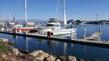 Boats in a Southern California Harbor - Rocks, California, Water, Mountains, Sky, Boats, Reflections