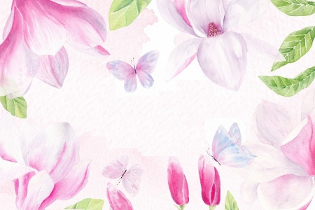 Texture - magnolia, texture, flower, paper, spring, pink, white, pattern, card, watercolor
