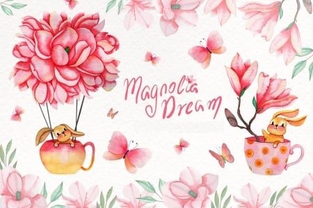 ♥ - pattern, magnolia, rabbit, spring, easter, animal, teapot, butterfly, flower, cup, bunny, paper, tecture