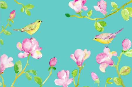 Texture - spring, pink, blue, pattern, magnolia, card, bird, green, texture, flower, pasari, paper, watercolor