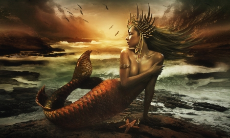 Beauty of The Sea - mystical, lovely, Mermaid, magical, sunset, oceam, besuty, sea