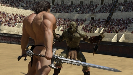 Osher vs. Orc (1) - arena, warrior, muscle, fight, hero, orc, hunk