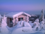 Wooden hut in winter