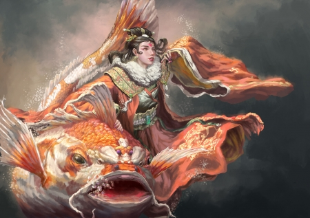 Fantasy girl - orange, fish, girl, pesti, liyuang, koi, art, frumusete, luminos, water, fantasy