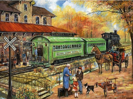 Welcome Home To Lambertville - train, people, station, railways, coach, horse, artwork, dogs, painting