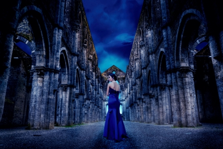 Cloister Ruins - digital, art, walls, girl, church
