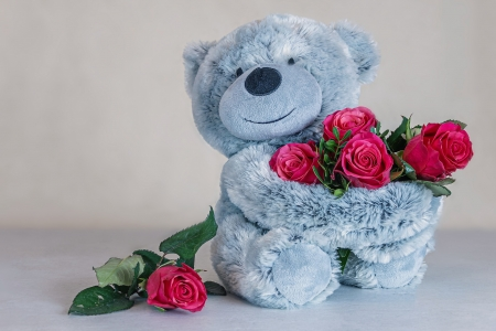 ♥ - red, flowers, roses, teddy bear