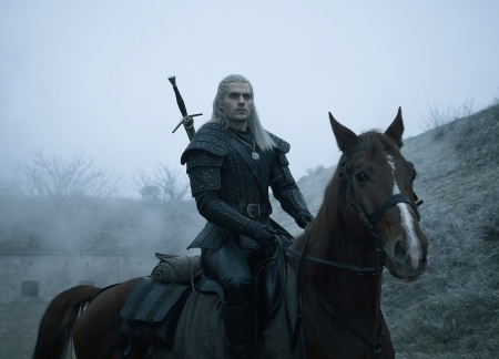 The Witcher (TV Series 2019– ) - the witcher, Henry Cavill, black, tv series, man, horse, actor