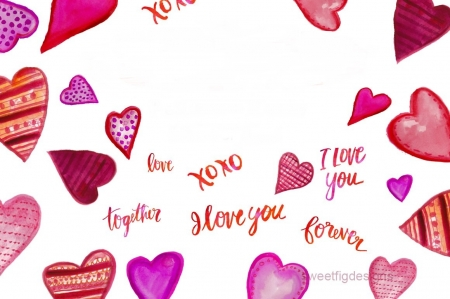 Texture - white, pink, card, word, pattern, valentine, heart, texture, love, paper, watercolor