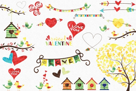 Valentine's patterns - pattern, house, texture, heart, spring, valentine, paper, watercolor