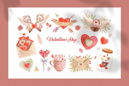 :) - texture, day, paper, valentine, pink, white, card, red, pattern, watercolor