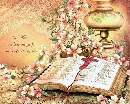 Thy Word - blossoms, flowers, book, lamp, painting