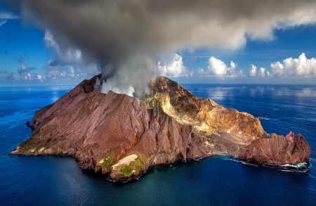 Active volcano N.Z. - photography, new zealand, force, nature, brown-blue, volcano, sea, active, ocean