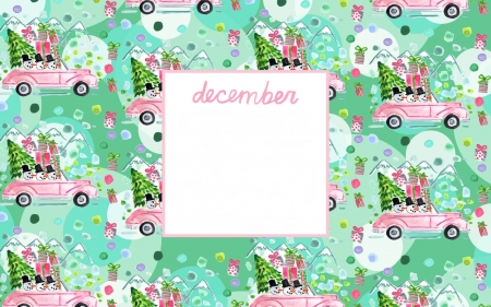 December - texture, paper, blue, pattern, christmas, craciun, december, card, calendar, tree, green, car
