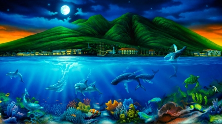 Fantasy Land - magical, land, Fantasy, scene, sea life, dreamy, water, moon, Mountains, colotful, dolphins