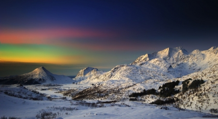 Nordic sky - sky, landscape, scene, winter, hills, North, northern lights, Aurora borealis, mountains, wallpaper, nature, night