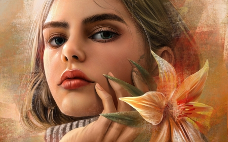 girl with flower - girl, art, look, paintings, flower, face, eyes