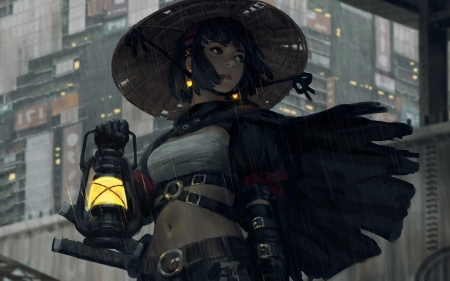 :) - guweiz, dark, rain, hat, light, art, frumusete, lantern, luminos, fantasy, girl