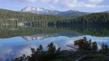 Between Earth and Sky - mountains, lake, boat, dock, trees, reflection
