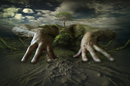 :) - green, art, world, tree, fantasy, luminos, hand