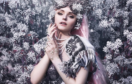 ♥ - bella kotak, model, girl, flower, woman, pink, white, princess