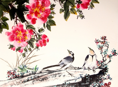 Birds and flowers - peony, chinese art, bird, painting, flower, pictura, couple, watercolor, red