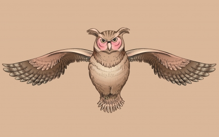 Owl - owl, bufnita, wings, brown, bird, pasari, minimalism, pink