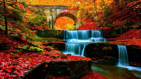 Waterfall - bridge, forest, cascades, leaves, autumn, river