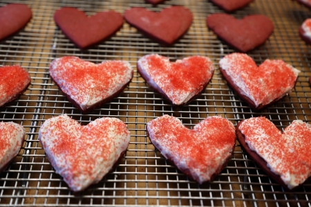 Valentine Day Red Velvet Sugar Cookies - Valentines Day, Cookies, Sweets, Hearts, Holidays