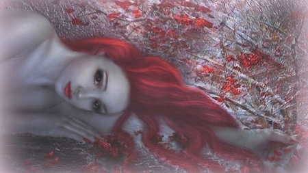 Beautiful Fantasy Lady - redhead, unearthly beauty, ethereal, Fantasy woman, face, Delicate, softness, Exquisite, Dreamy, Sublime