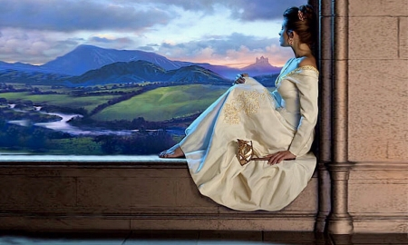 Lovely Lady Enjoying a View - window, peaceful, relaximg, lady, lovely view, Nature, scenic, gown, Femimine, window seat