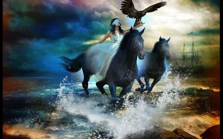 Blind Ride - water, girl, ship, eagle, clouds, sky, horses, rocks, art, digital