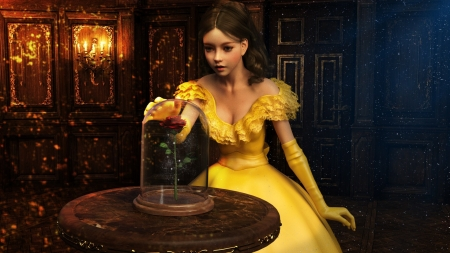 The rose - belle, yellow, princess, dress, sirtancrede, beauty and the beast, rose, luminos, fantasy, sir tancrede, dark