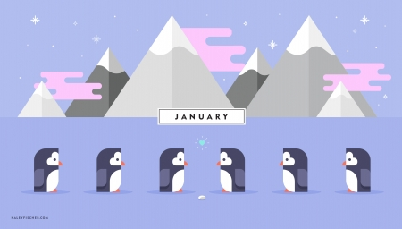 January - bird, january, penguin, white, blue, iarna, winter, haley fischer, mountain, ice