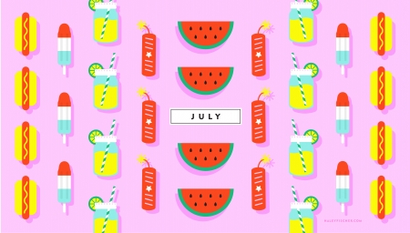 July - july, paper, pink, pattern, red, haley fischer, juice, ice cream, fruit, texture, watermelon, drink