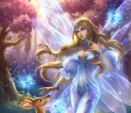 Fairy - wings, girl, luminos, j c yuan, pink, blue, fairy