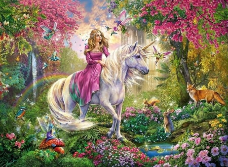 Unicorn ride - insects, rabbit, squirrel, birds, horse, trees, pond, fox, girl, painting, fairies, flowers, mushrooms
