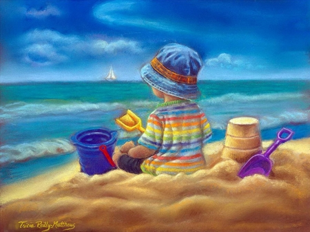 Time of wonder - hat, beach, playing, painting, seaside, child, artwork