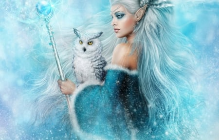 Snow Owl Fantasy - fantasy, snow, arts, owl, teal, woman