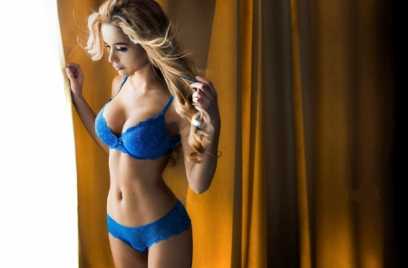 Ekaterina Zueva as a blonde - looking out of the window, blonde, blue lingerie underwear, curtains